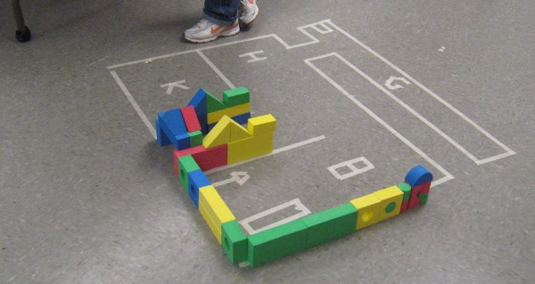 Pretend floor plan for a house at the Building Buddies program