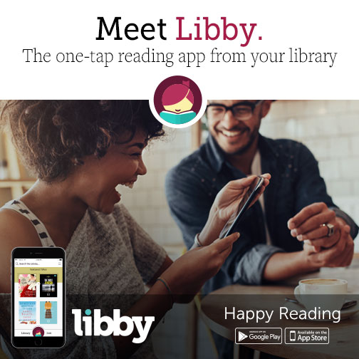 Two people using the Libby app on their phone.