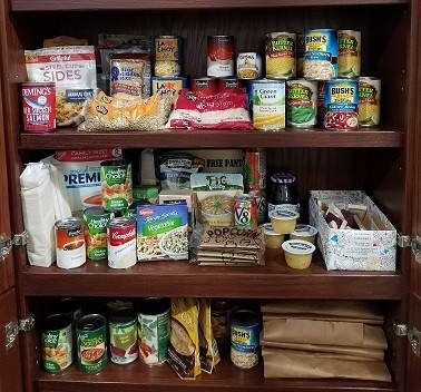 Shelves of canned and dry food