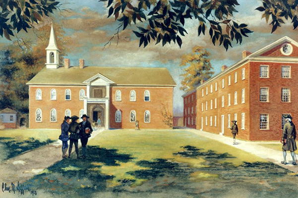 Colonial era students roam outside the old 4th street campus.