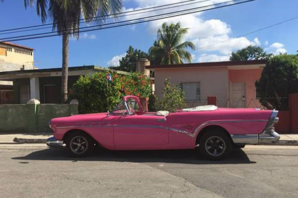 Bright pink convertible parked on the street with palm trees in the background