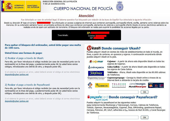 An example screenshot of Spanish police ransomware