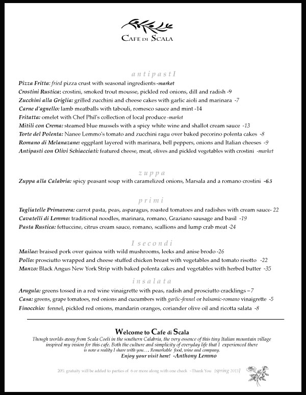 Cafe di Scala Spring Menu