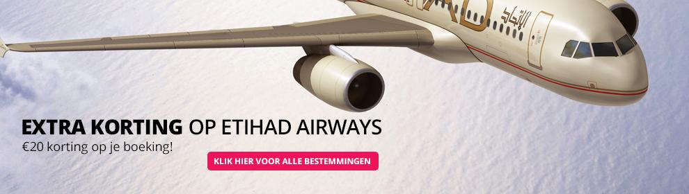 €20 extra korting op vluchten Etihad Airways