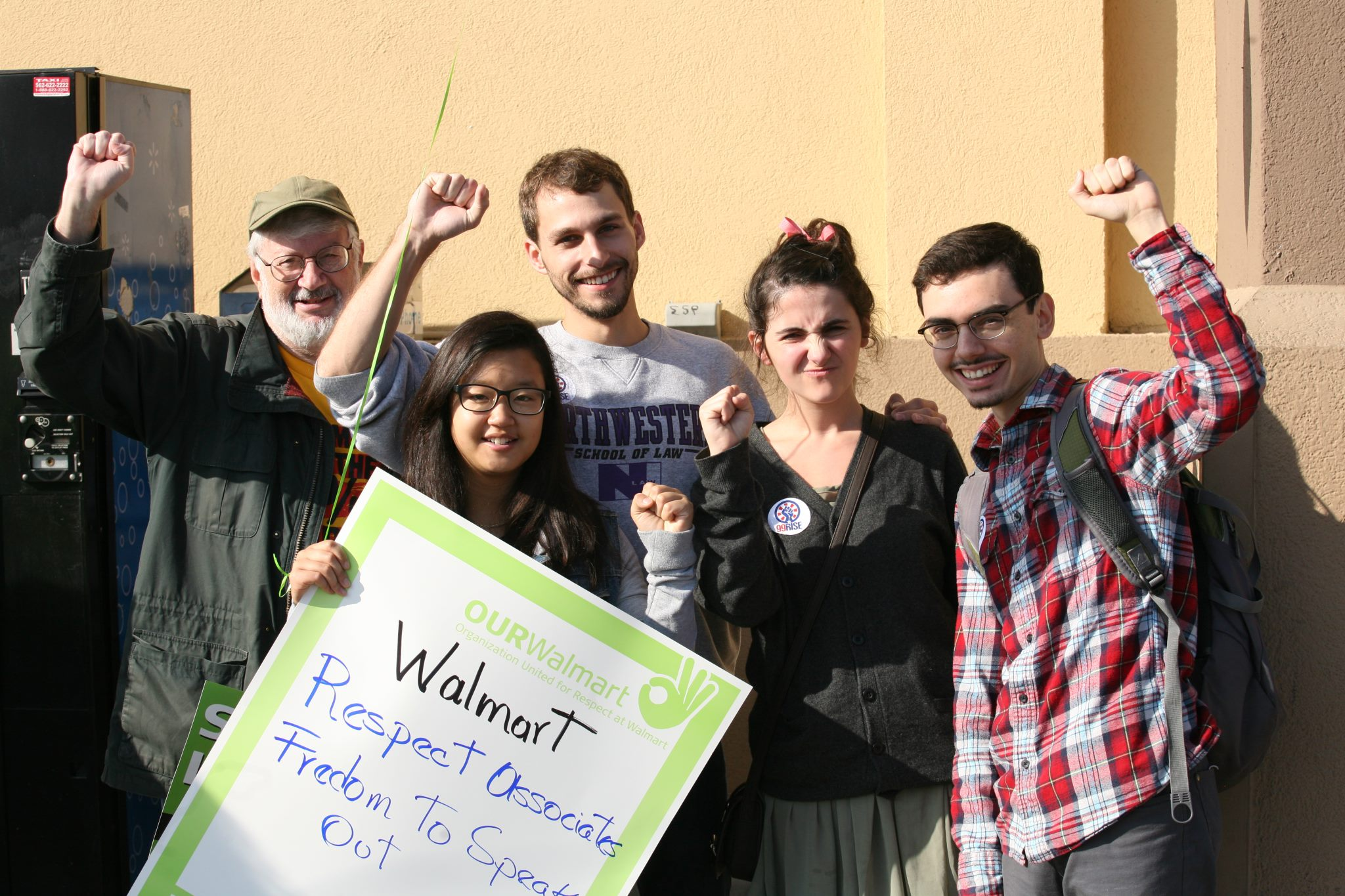 Oxy students and Professor Dreier at the Walmart Protest in Paramount, CA