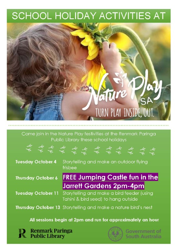 School Holiday Flyer for Nature Play at Renmark Paringa Library