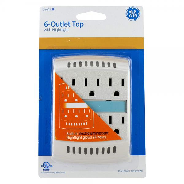 GE 6 Outlet Wall Tap with Nightlight