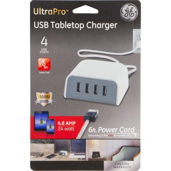 GE USB Tabletop Charger - 4 USB Charging Ports
