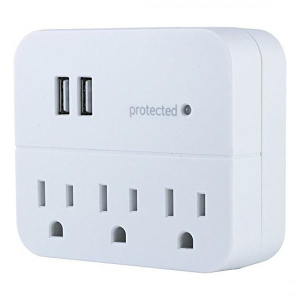 GE Wall Tap Surge Protector - 3 Outlets, 2 USB Charging Ports