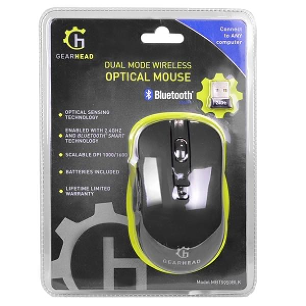 GearHead Dual Mode 2.4GHz Wireless & Bluetooth Optical Mouse