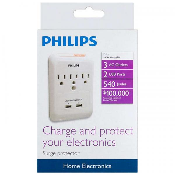 Philips 3 Outlet + 2 Charging USB Ports Wall Tap Surge Protector