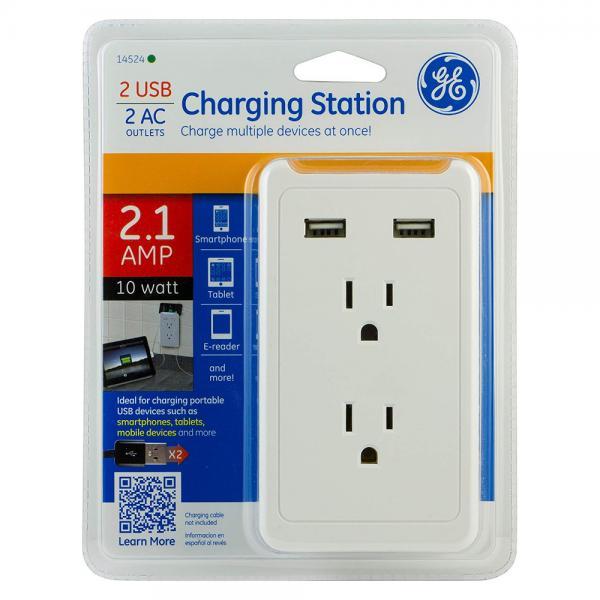 GE Wall Tap Charging Station - 2 Outlets, 2 USB Ports