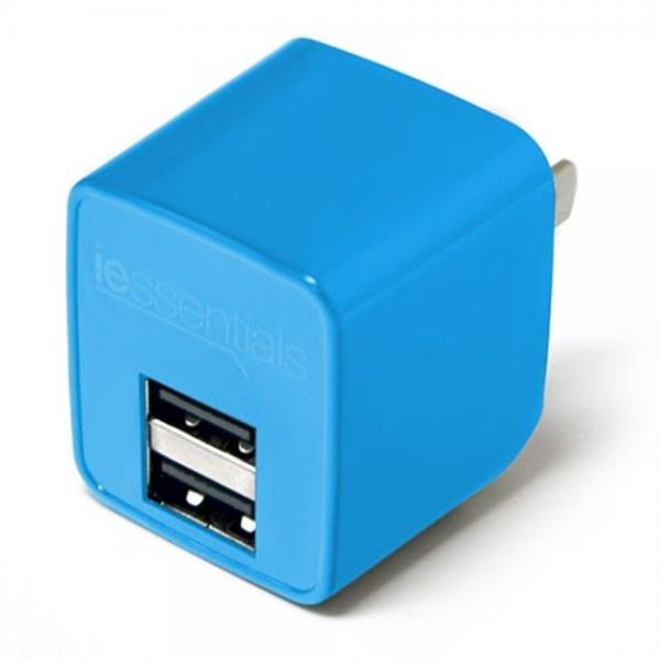 iessentials 2.4A USB Wall Charger - Blue
