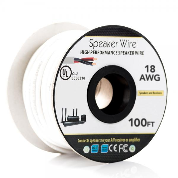 18AWG Speaker Wire - 2 Conductor - CL2 Fire Rated
