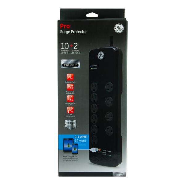 GE 10 Outlet + 2 Charging USB Ports Surge Protector