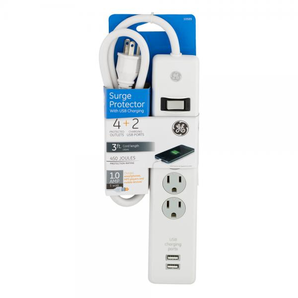 GE 4 Outlet + 2 Charging USB Ports Surge Protector NEW!
