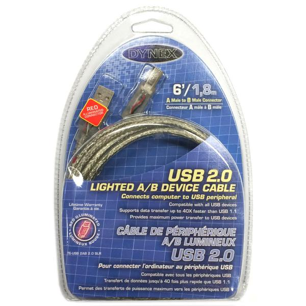 Dynex 6' Lighted USB 2.0 A to B Cable