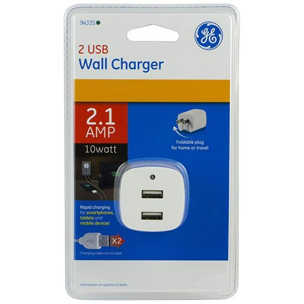 GE USB Wall Charger - 2.1A - White