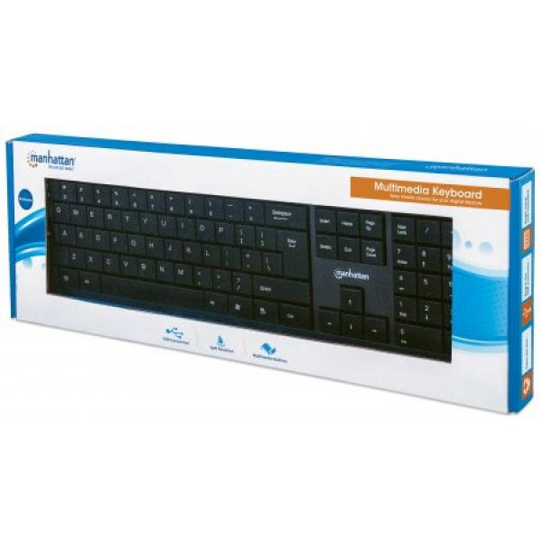 USB Wired Multimedia Keyboard by Manhattan