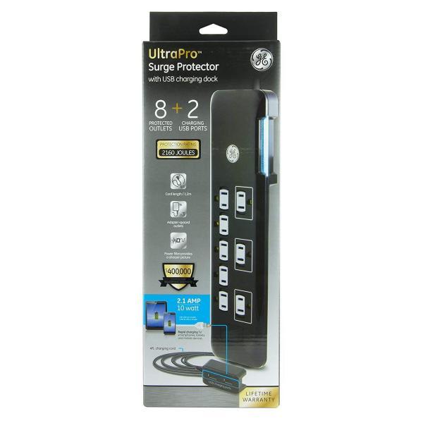 GE 8 Outlet Surge Protector with Desktop Charging Dock