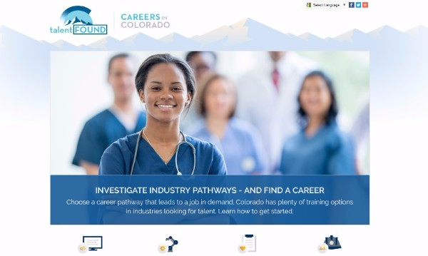 A woman in scrubs is the main slider on the careers in Colorado homepage with industry icons below.