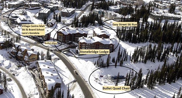Ski in/Ski out location of Stonebridge Lodge Resort and ski runs