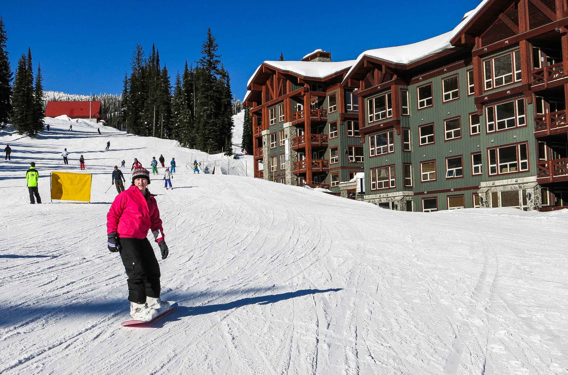 Snowboarders love the easy access from Stonebridge Lodge at Big White