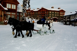 Sleigh ride through the village centre with Stonebridge Lodge Resort in the background