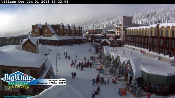 A snowy New Year's Day village at Big White