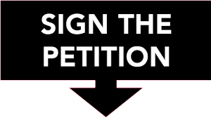 SIGN THE PETITION, with downward point arrow