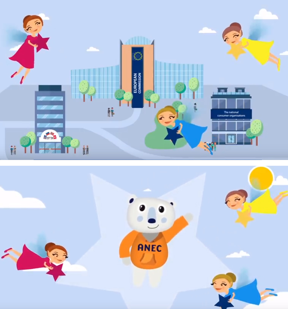 Two cartoon images from the new ANEC video
