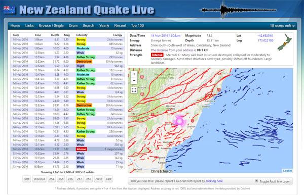 screenshot of New Zealand earthquake live