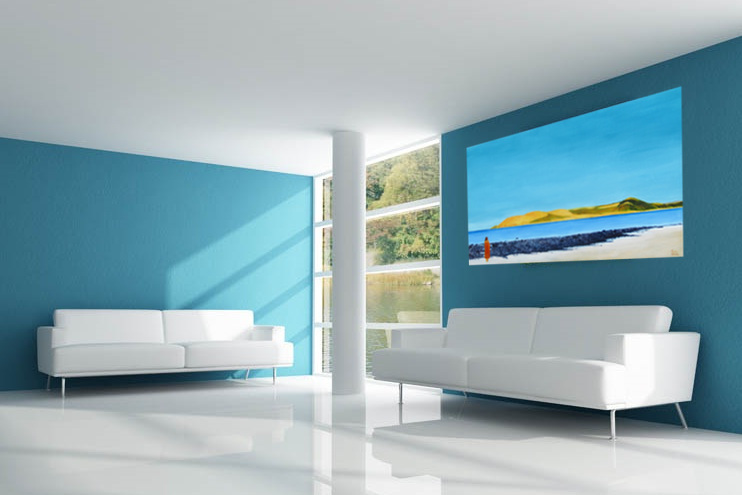 Contemporary figurative landscape painting of omapere hokianga shown in a living room