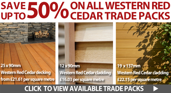 Up to 50% off all Western Red Cedar cladding and decking trade packs