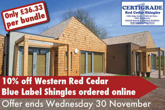 10% Off Western Red Cedar Blue Label Shingles ordered online until 30 November