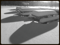 picnic tables under snow