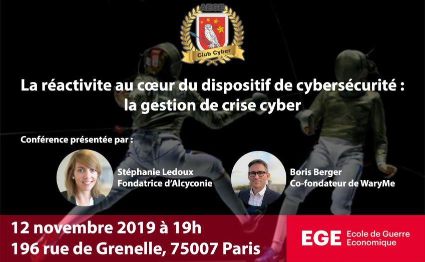 Presentation conference gestion de crise Alcyconie et WaryMe AEGE club Cyber Freani