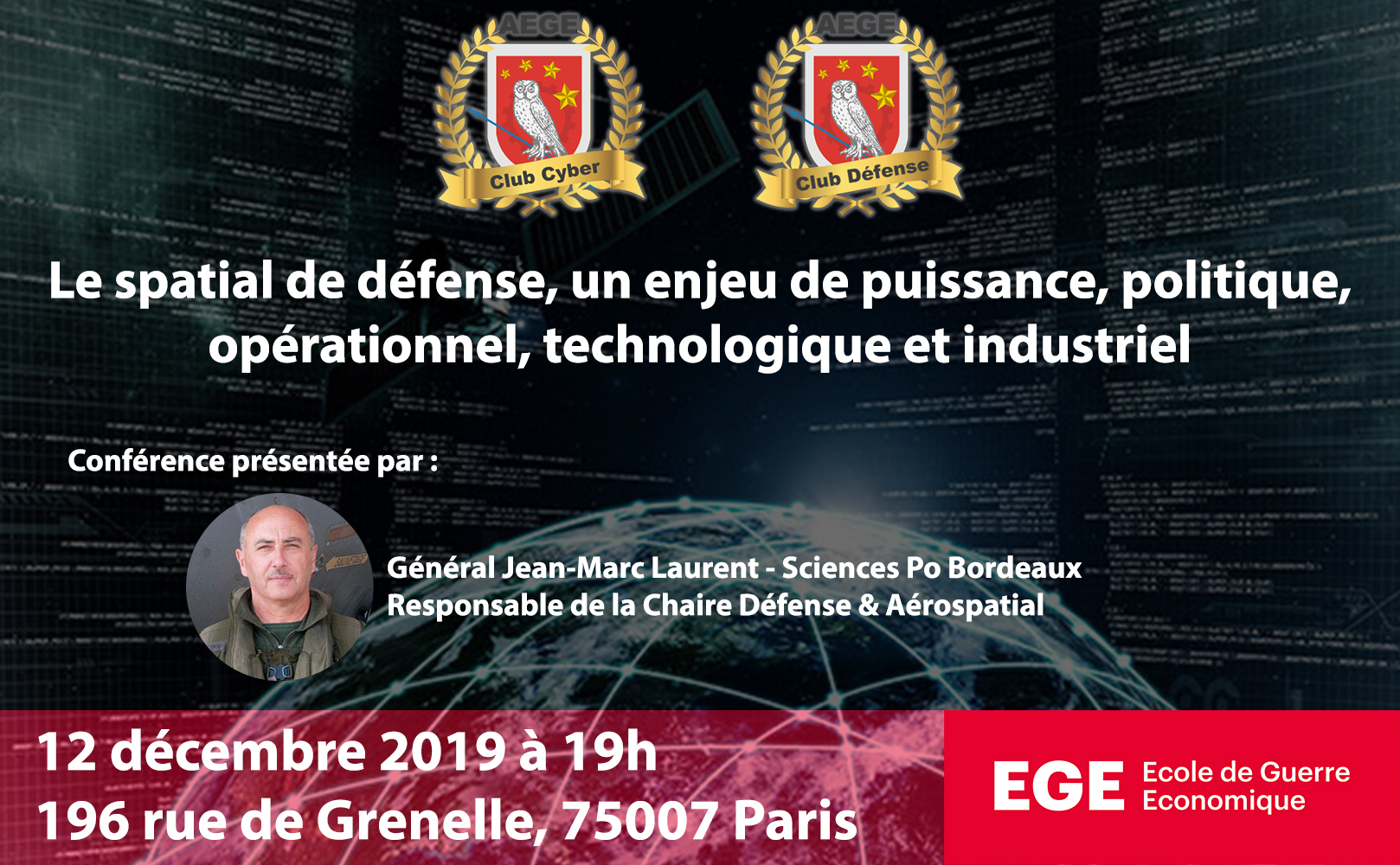 Presentation conference spatial defense General Jean Marc Laurent club Cyber Freani