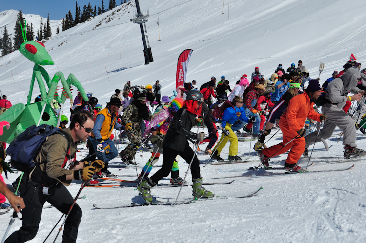 Start of the Al Johnson Uphill Downhill Race.  Photo by Fred Sproat