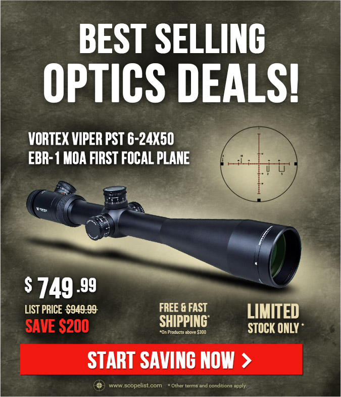 Vortex Viper PST 6-24x50 EBR-1 MOA Reticle Riflescope PST-624F1-A