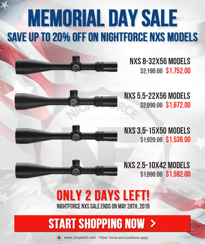 Save 20% on Regurlarly Prices Nightforce NXS Scopes