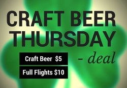 Craft Beer Thursday Deal - Craft Beer $5 Beer Flights $10