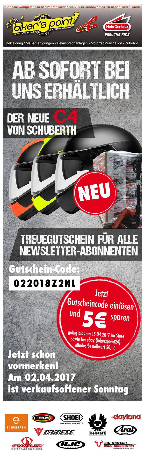 Ab sofort bei uns erhätlich - der neue C4 von Schuberth :: Treuegutschein für alle Newsletter-Abonnenten
