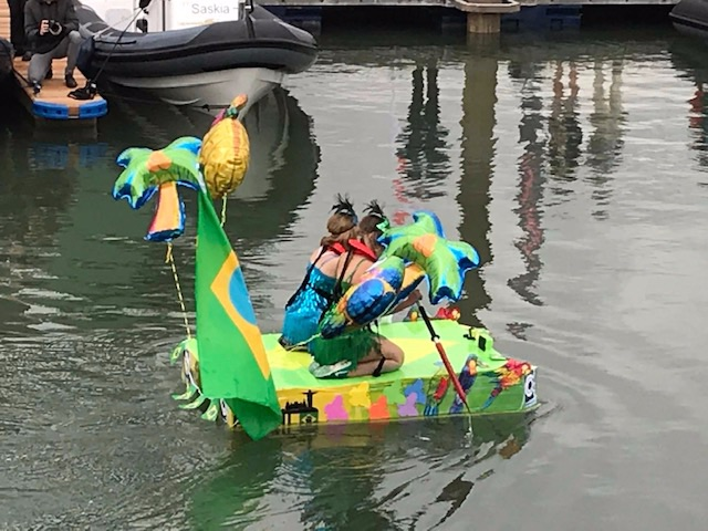 Team C Quip one of our suppliers racing in the Cardboard Boat Regatta