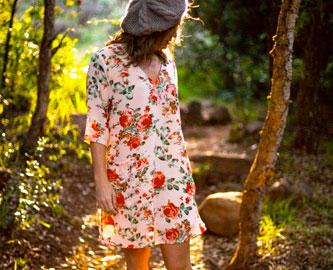 Mary Tunic Peach Floral Chiffon