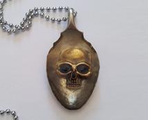 Vintage Spoon Skull Pendant