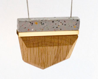 Large Clay Pendant in Grey