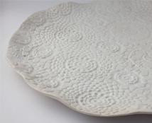 Handmade lace earthenware plate