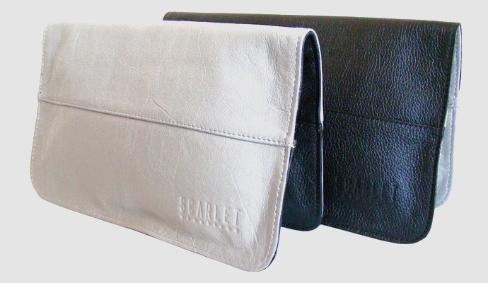 Black & Grey Roslyn Leather Clutch Bag