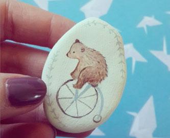 Bear on a Bike Brooch